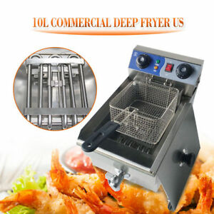10l Commercial Electric Deep Fryer Fast Food Restaurant Cooker Fry Timer Drain