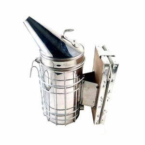 Stainless Steel Bee Hive Smoker With Heat Shield Beekeeping Equipment Tool New