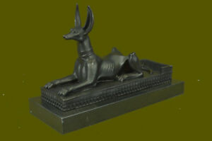 Egyptian 100 Real Bronze Anubis Collectible Figurine Statue Sculpture Art Db