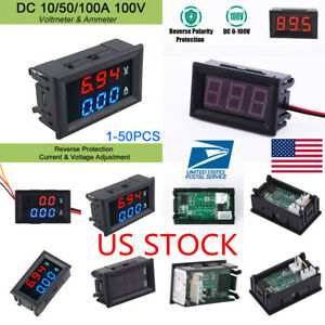 Dc 100v 10a 50a 100a Volt Ammeter Led Dual Dispaly Panel Digital Voltmeter Gauge