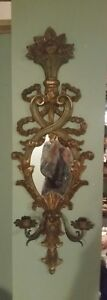 Antique Italian Wall Sconce Carved Wood Gold Gilt W Mirror 2 Metal Candle
