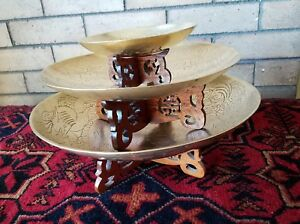 Brass Chinese Engraved Fruit Bowls With Carved Stands 12 10 And 6 Inch Diameter