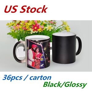 Us Stock 36pcs Black Glossy Magic Cup 11oz Blank Sublimation Color Changing Mugs