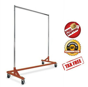 Rack Z Commercial Garment Rolling Clothes Durable Square Tubing Heavy Duty New