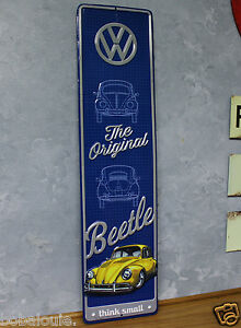 Original Vw Beetle Emboss Metal Signs Vintage Look Bug Karmann Ghia Volkswagon