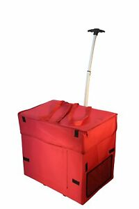 Rolling Basket Shopping Cart Bag Wide Load Carts Collapsible Storage Laundry Red