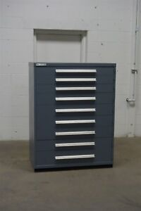 Used Vidmar 9 Drawer Cabinet Industrial Tool Storage 45 Wide 1302