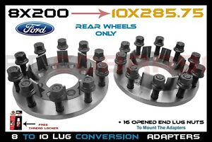2pc Rear 8x200 To 10 Lug Semi Hub Centric Conversion Adapters Steel Construction