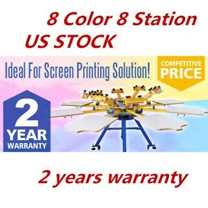 Us 8 Color 8 Station Screen Printing Machine T shirt Press Printer Equipment Diy