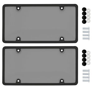 2 Unbreakable Tinted Smoke License Plate Shield Covers 2 Black Frames 8 Caps