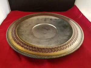 Wm Rogers Silverplate Pierced Edge 12 1 4 D Plate Tray Bowl 821