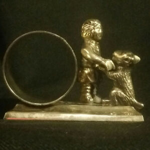 Antique Vintage Silver Plate Napkin Ring Depicts Little Boy Playing With His Dog