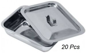 Hospital Holloware Surgical Instrument Stainless Steel Trays With Lids 20 Pcs