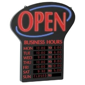 Newon Led Open Sign With Programmable Business Hours And Flashing Effects Red b