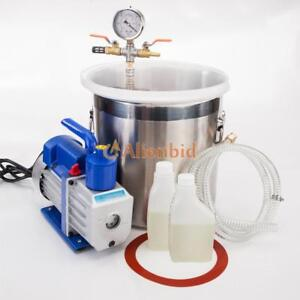 2 Gallon Vacuum Chamber And 5cfm 1 3hp Single Stage Pump To Degassing Silicone