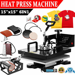 15x15 6 In 1 Transfer Sublimation T shirt Mug Hat Plate Cap Heat Press Machine