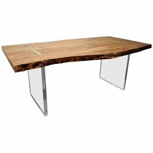Modern Designer Studio Floating Top Acacia Slab Wood Lucite Dining Table