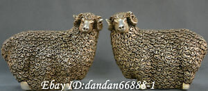 Collect China Bronze Carve Wealth Money Sheep Ruyi Auspicious Animal Statue Pair