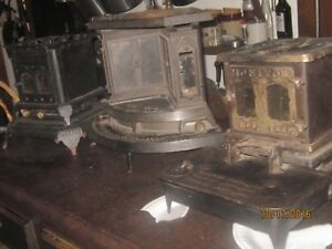 3 Antique Heater Stoves Cast Iron Fireplace Parlor Kerosene