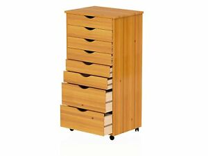 Rolling File Cabinet Wood 8 Drawers Storage Organizer Bins Home Office Furniture