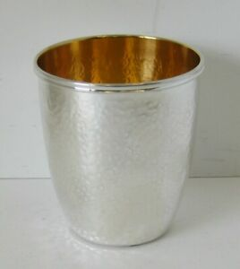 Fine 925 Sterling Silver Gilded Italian Handmade Modern Hammered Round Cup