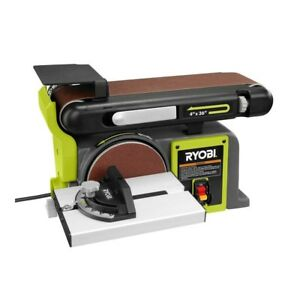 Ryobi Bench Sander 120-Volt Grinder Top Belt Disc Tilt Cast Iron Base (New)