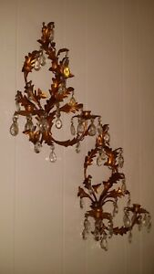 Pr Italian Gold Gilt Crystal Tole Metal Leaf Hollywood Regency Candle Sconces