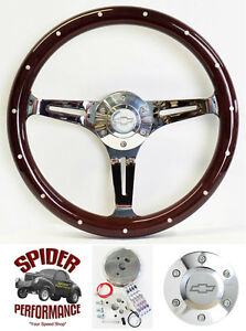88 94 Suburban Blazer Chevy Pickup Steering Wheel Bowtie 15 Dark Mahogany Wood