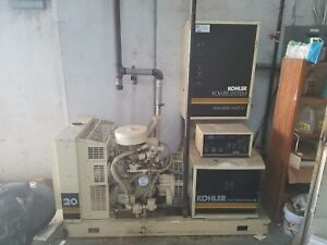 Kohler 20kw Commercial Generator W Transfer Switch 1 3 Phase excellent