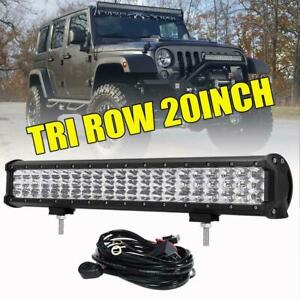 Tri Row 20inch 630w Led Light Bar For Jeep Wrangler Jk Tj Yj Offroad 22 23 28