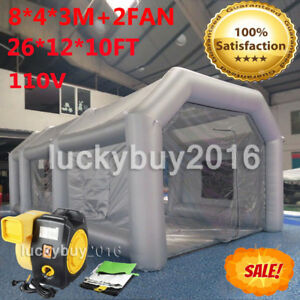 26ft Inflatable Giant Car Workstation Spray Paint Booth Tent 8 4 3m With 2 Fan