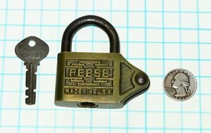 Vtg Antique Old Ornate Brass Case Reese Lock Co Chain Link Warded Padlock