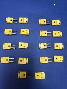 Omega Type K Thermocouple Miniature Connector Lot Of 9 M f