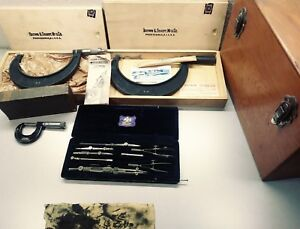 Vintage Brown And Sharpe Micrometer Caliper Bundle Lot Excelsior Very Rare Look