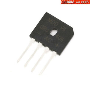 Gbu406 Rectifier Bridge 4a 600v Pcb Mount 4 Amp Pack Of 1 5 10 50 500 Diodes