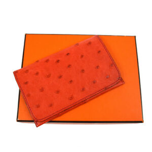 Authentic Hermes Card Case Wallet Red Ostrich Leather France With Box M13125