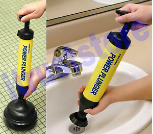 Powered Plumbing Sewer Sink Shower Drain Trap Cleaner Large Small Plunger Tips
