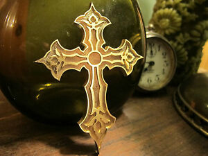 Ornate Cross Brass Bible Bookbinding Press Stamp Embossing Die Letterpress