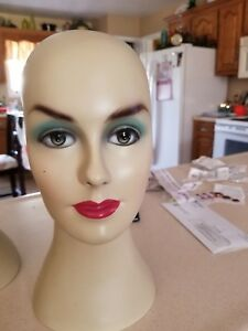 Display Female Fiberglass Mannequin Head Wig Jewelry And Hat Display