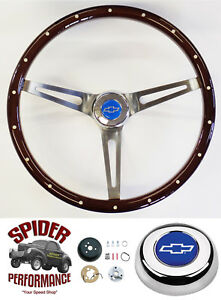 1966 Malibu Chevelle Steering Wheel Blue Bowtie 15 Mahogany Muscle Car