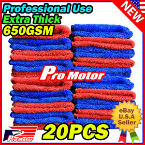 10pc Microfiber Cleaning Cloth No Scratch Rag Car Polishing Detailing Red Towels