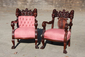 Spectacular Pair Of Heavily Carved Karpen Mahogany Maiden Arm Chairs Ca 1890