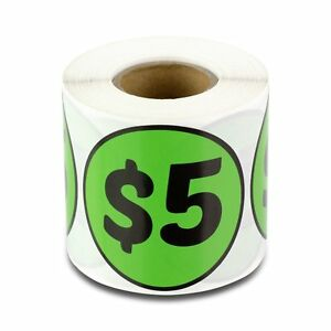 5 Five Dollars 2 Round Prepriced Garage Yard Sale Labels Stickers Green 300