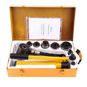 10ton Hydraulic Knockout Punch Hand Pump 6 Dies Hole Tool Driver Kit W Case Us