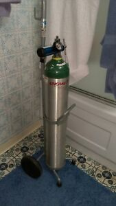 Oxygen Tank With Adjustable Cart