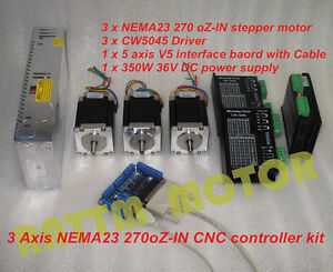 3 Axis Nema23 Stepper Motor 270oz in 76mm cw5045 Driver 4 5a Cnc Controller Kit