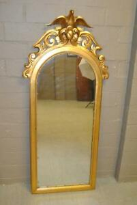 Arched Gold Leaf Carved Wood Eagle Mirror 62 1 2 Tall
