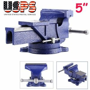 5 Bench Vise With Anvil Swivel Locking Base Table Top Clamp Heavy Duty Steel Mx