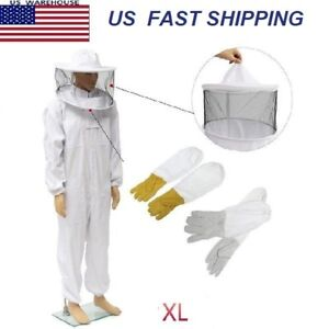 Beekeepers Bee Keeping Cotton Full Protector Suit With Veil Hat Hood Bee Xl