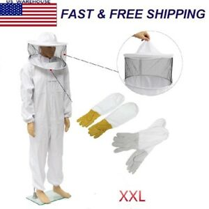 Beekeepers Bee Keeping Cotton Full Protector Suit With Veil Hat Hood Bee Xxl
